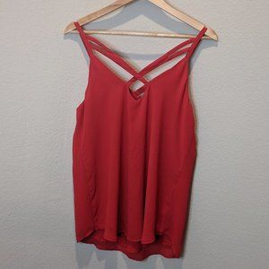 Naked Zebra Red Sleeveless Shirt L Flowing